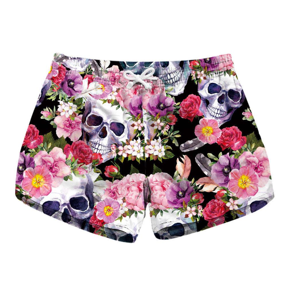 Maoxzon Womens Drawstring Casual Shorts For Ladies Skull Print 2018 New Summer Fashion Both Side Pockets Quick Dry Shorts