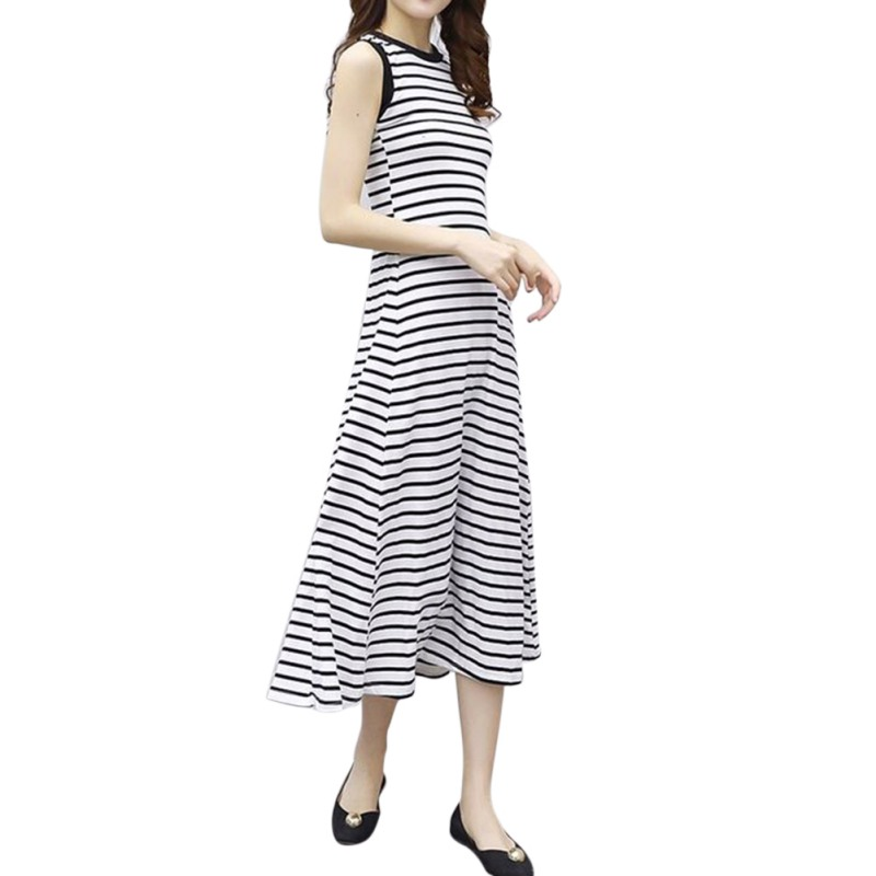 Summer Women Classic Striped Dress Sleeveless O Neck Casual Strap Dress Long Fit Elegant Slim Dess Female