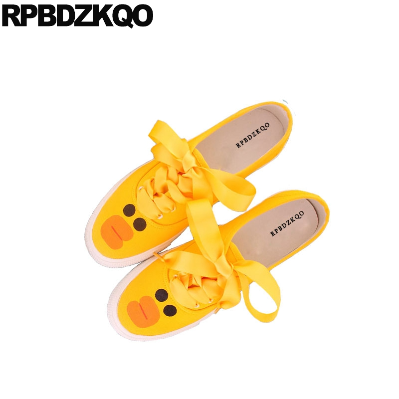 Breathable Flats Cute Yellow Canvas Round Toe Designer Sneakers Elevator Lace Up Women Cheap Shoes China Thick Sole Cartoon