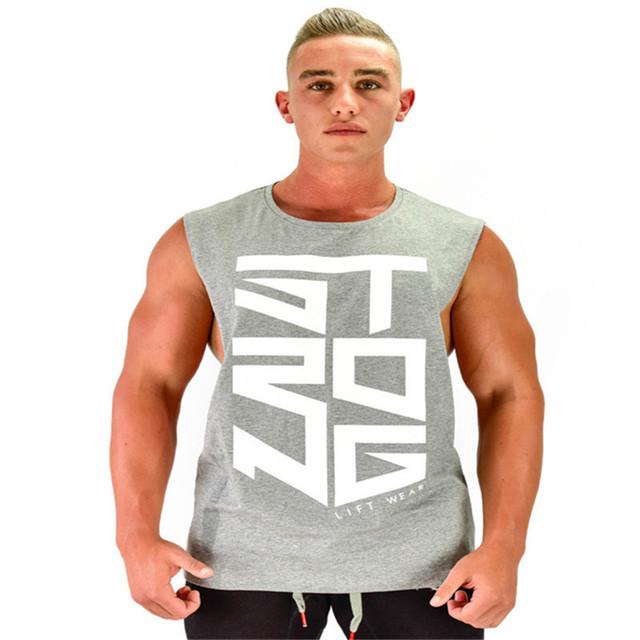 2017Gyms Clothing Fitness Singlets Men Bodybuilding Stringers Tank Tops Sleeveless Shirt Brand Muscle Vest Gold's tank tops men