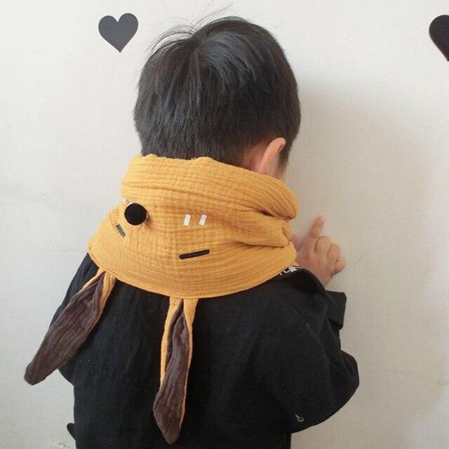 2018 зимняя детская 100% хлопок толстый теплый вязаный кролик мультфильм Длинные ухо Мех животных обёрточная бумага для девочек милый шарф