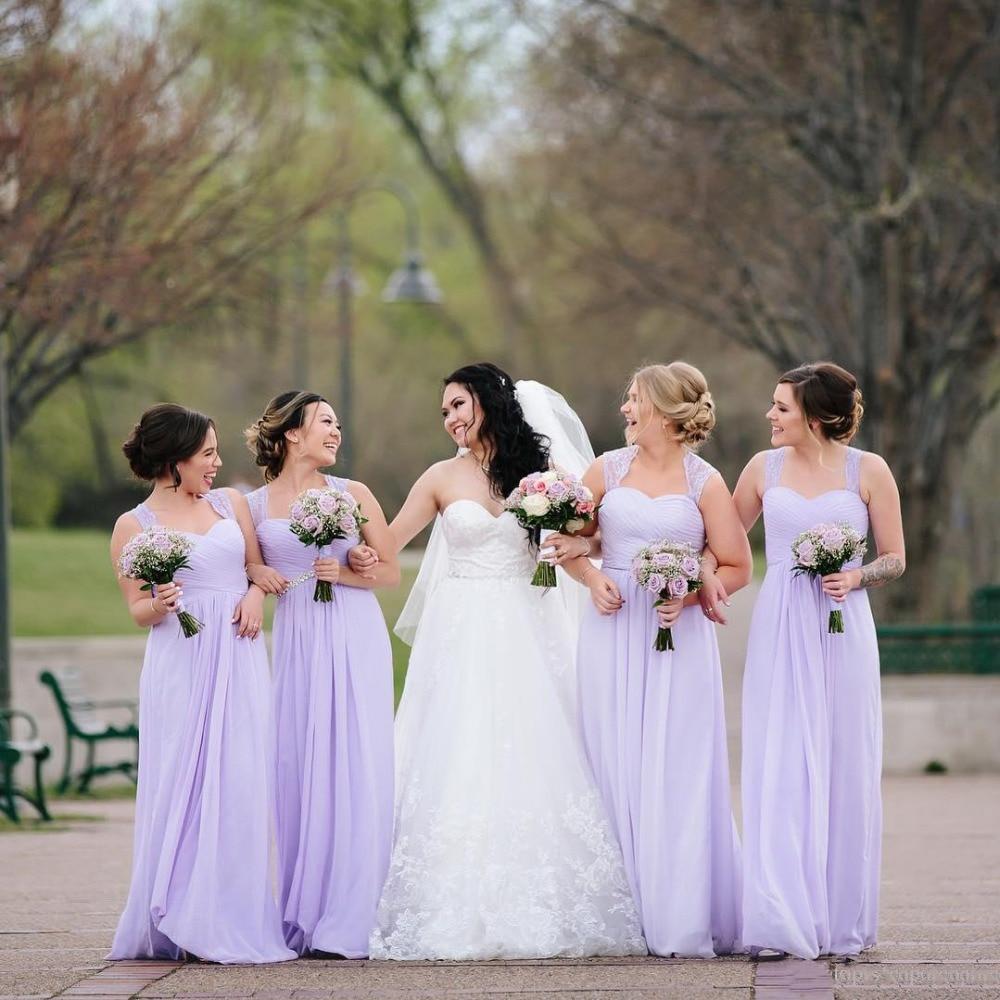 2019 robes de demoiselle d'honneur pour mariage longue mousseline de soie a-ligne robes formelles fête modeste robe de demoiselle d'honneur
