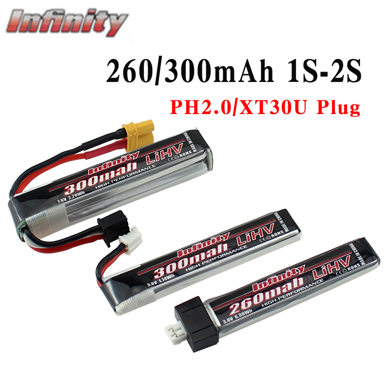 5PCS Infinity 260/300mAh 3.8V 7.6V 1S 2S FPV Battery With PH2.0/XT30U Plug for Indoor Racing Drone Toy