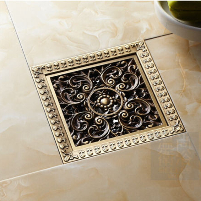 Free Shipping Vintage Art Carved Bathroom Bath Shower Drain Floor Trap  Waste Grate With Strainer Cover