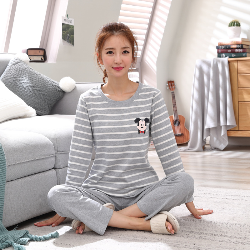 2019 Women Pajamas Sets Autumn Winter New Women Pyjamas Cotton Clothing Long Tops Set Female Pyjamas Sets NightSuit Mother Sleep 115