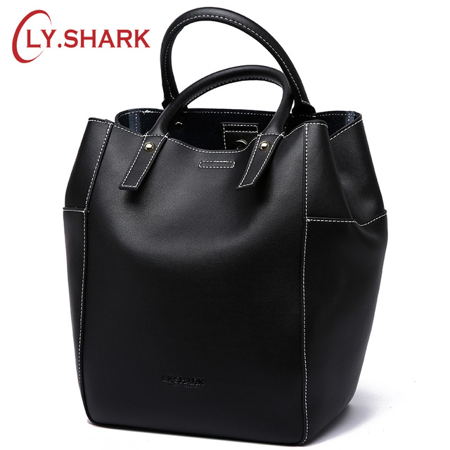 LY.SHARK Brand Luxury Handbags Women Bags Designer Large Shoulder Messenger Bag Casual Bucket Lady Genuine Leather Bags Tote New arnagar genuine leather luxury women messenger bags new designer handbags high quality lady tote bag crossbody bag for women