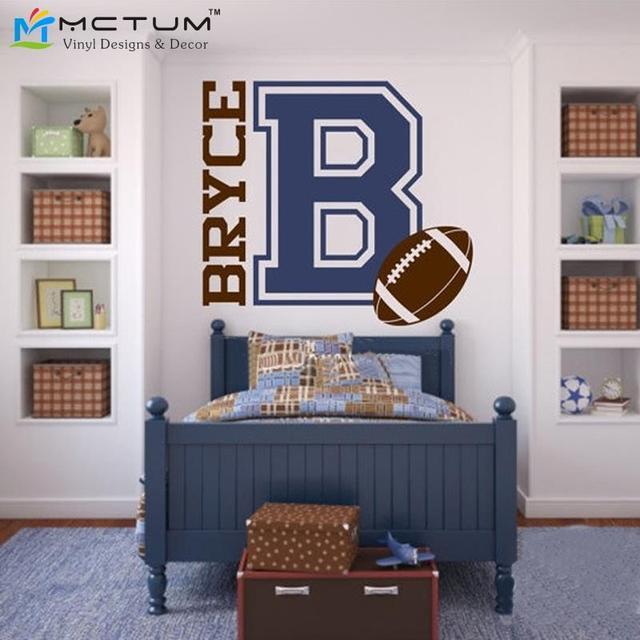 Personalized Name And Football For Teen Boys Bedroom Sports Wall Decal  Football Wall Stickers For Kids