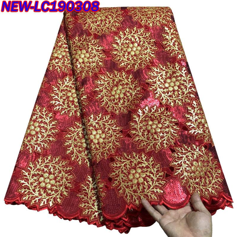 High quality African lace fabric 2017 latest organza lace fabric sequins embroidered hot Nigerian lace fabric