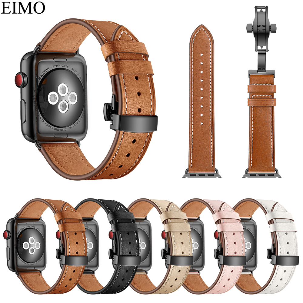 EIMO Strap for Apple Watch band 42mm 44mm Hermes Iwatch series 4 3 2 1 38mm 40mm Genuine Leather Bracelet Wrist Belt Watchband цена