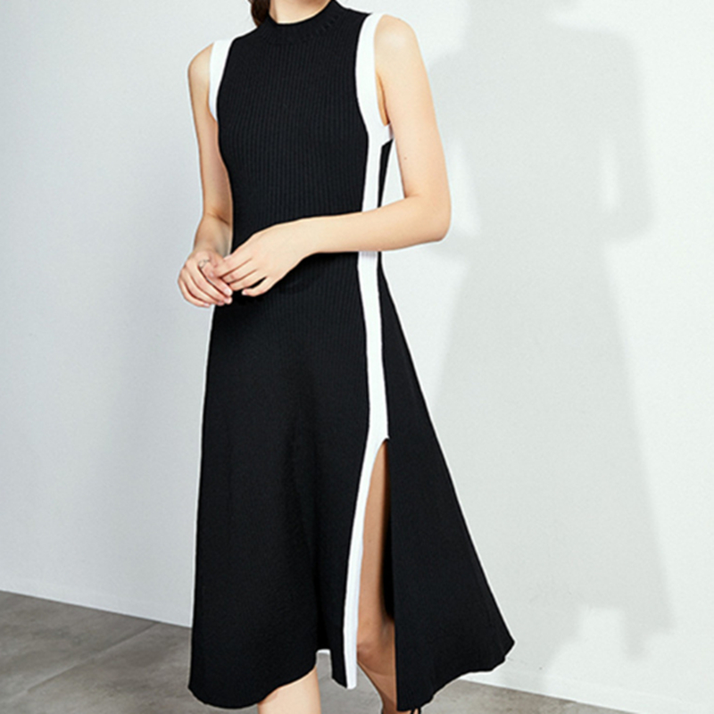 2019 New Women Black Knitted Dresses Patchwork High Waist Tank Knitting Split Dress