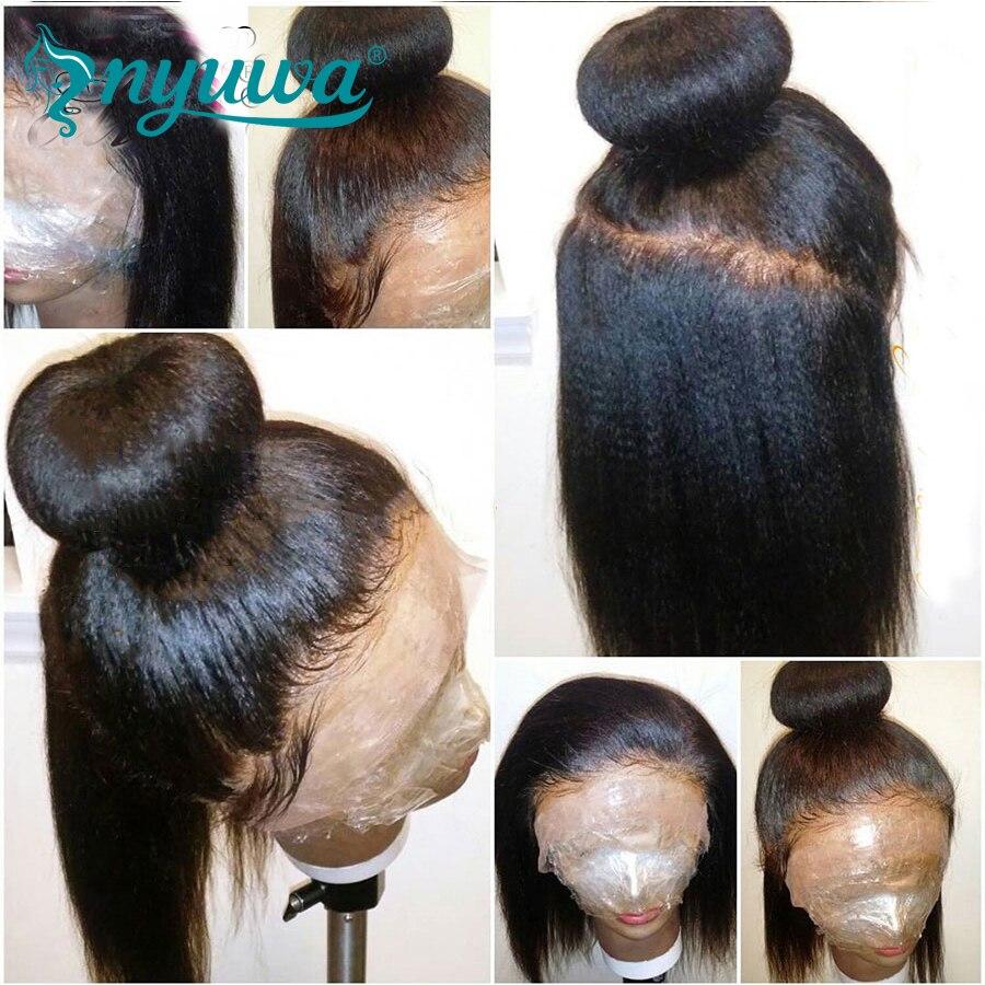 Yaki Straight Full lace Wigs Human Hair With Baby Hair Brazilian Remy Hair Italian Yaki Full Lace Wigs Pre Plucked NYUWA