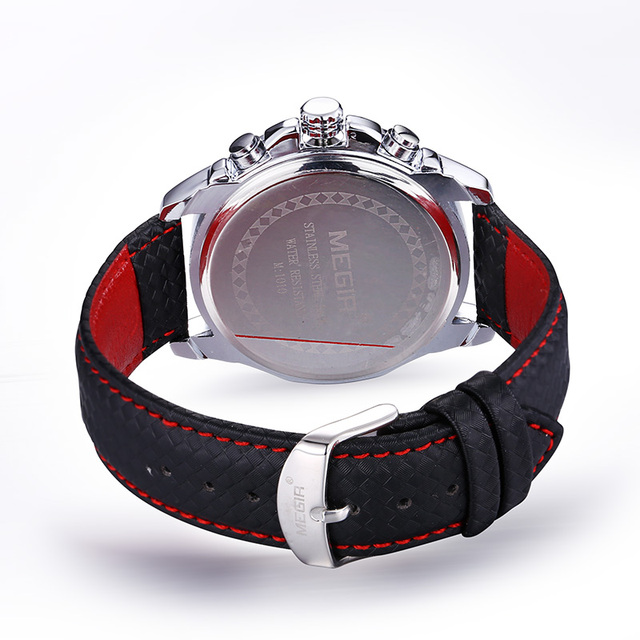 MEGIR Sports Brand Quartz Mens Watches Top Brand Luxury Quartz-watch Clock Leather Strap Male Wristwatch Relogio Masculino 2016