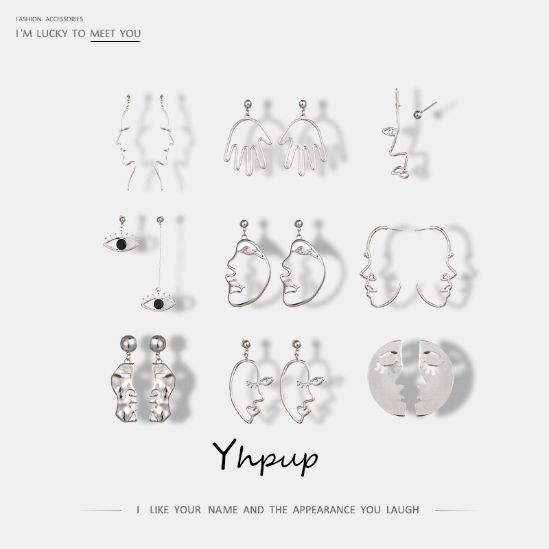 Yhpup Unique Charm Trendy Abstract Human Face Wire Personalized Drop Earrings Gold Silver Eye Hand Earring For Women Ear Jewelry