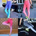 Señoras yoga fitness correr gimnasio sport pantalones pantalones leggings color degradado nuevo