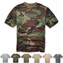 Мужская тактическая камуфляжная футболка, дышащая повседневная армейская футболка с круглым вырезом и рукавами в стиле милитари, для охоты