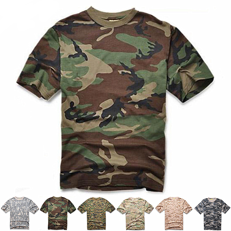 New CamouflageHunting Quick Dry T-shirt Men Breathable Army Tactical O Neck Shirt Sleeve Military Combat Casual T-shirts