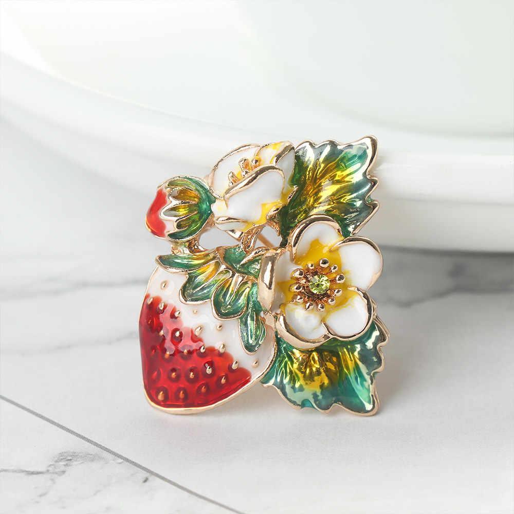 2019 Merah Strawberry Enamel Bros Kerah Syal Pin Aksesoris Hadiah Alloy