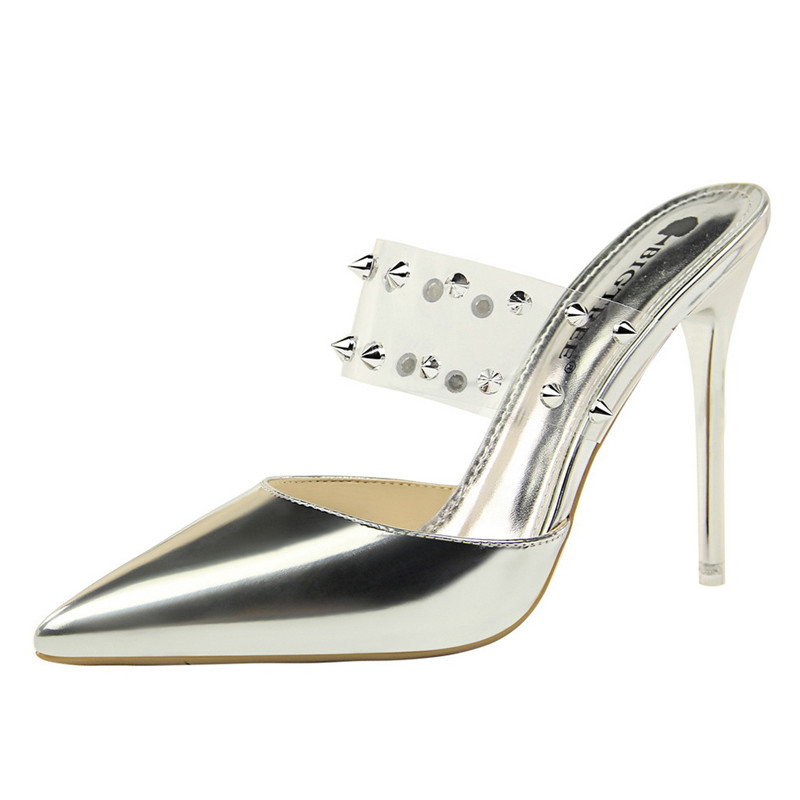 Women's Sandals Sexy Transparent Shoes Summer Slippers Night Club Silver Female Shoes Woman Stiletto Ladies Shoes With Thin Heel