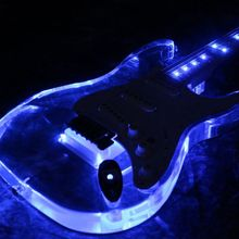 Free shipping newArrivel  Electric Guitar Pink LED acrylic guitar blue color good quialty more color can choose цена