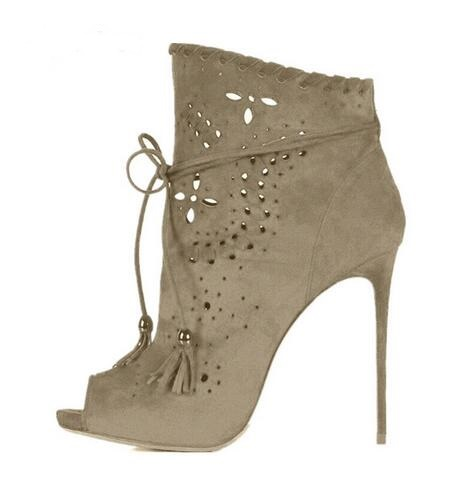 Grey Suede Women Ankle Boots Sexy Open Toe High Heels Cut-out Zapatos Mujer Autumn Bottes Femmes 2017 Chelsea Scarpe Shoes Woman