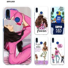 Case for Huawei P Smart 2019 Nova 4 3i P30 P20 P10 P9 P8 lite Pro Mini 2017 Hard Clear PC Cover Brown Hair Baby Mom Girl Queen стоимость