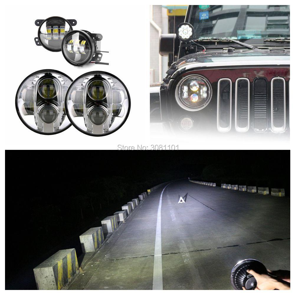 Set 4inch led fog lamp daymaker projector PC Lens +7 car led headlight Hi-low Beam for 2014 Jeep Wrangler Unlimited JK Rubicon