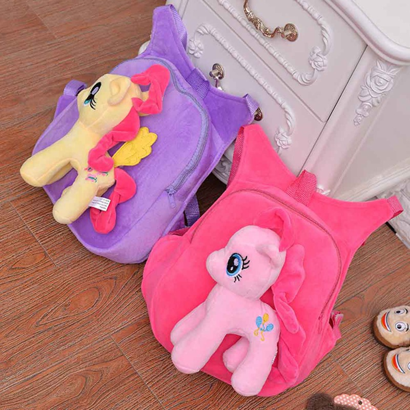 Cute Soft Cartoon Kindergarten Children Plush Backpack Pony Plush Toy  Preschool Baby Bag Gift For Kids 1-5 Years Old