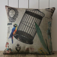 LINKWELL 45x45cm Vintage Blue Scarlet Macaw Parrot Bird Birdcage Angel And Blue Flower Home Pillowcase Burlap
