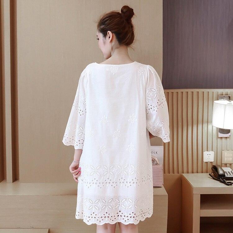 Лето 2016 Новый Для женщин белый хлопок платье с вышивкой большой Размеры женское платье.