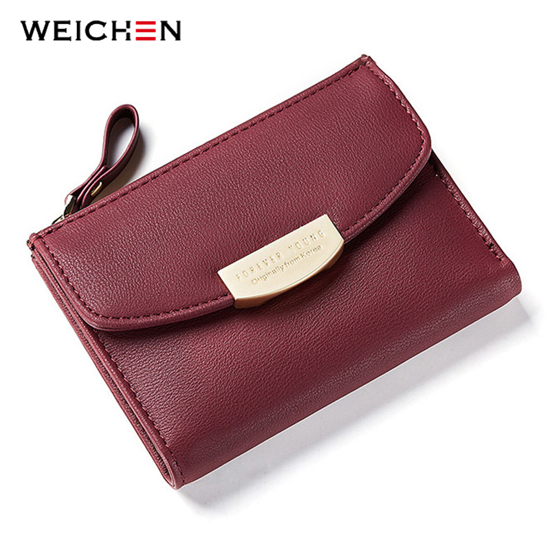 WEICHEN Fashion Short Women Wallets ID Card Holder Small Wallet Zipper Coin Pocket Purses Ladies Leather Purse Girls Billetera 2018 fashion genuine leather women wallet bi fold wallets id card holder coin purse with double zipper small women s purse