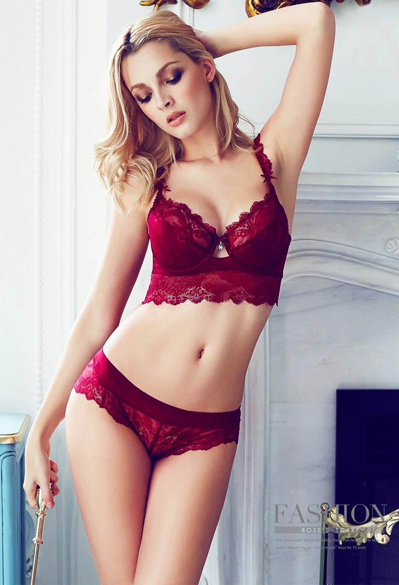 Sexy Mousse Women Sexy Bra Set Ultra-thin Red Black Lace Bras Underwear Plus size Push up Bra and Panties Set Cup A B C D 5