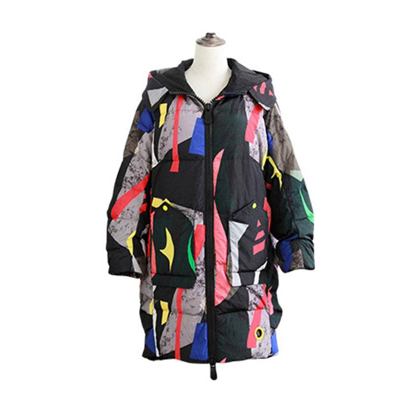 New Camouflage Print Floral Down Coats Women Hooded Long Thick Warm Down Jackets Female Loose Casual Down Coat Plus Size FP1209