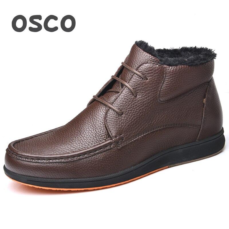 OSCO Merk Winter Laarzen Mannen Echt Leer Mode Enkellaarsjes Platte Schoenen Mannen Hoge Kwaliteit Met Bont Super Warm Sneeuw laarzen-in Eenvoudige Laarzen van Schoenen op  Groep 3