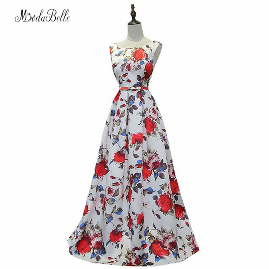 Modabelle Ball Kleid Lang White Nigerian Prom Dresses Long Pattern Floral Gala Dresses Prom A Line Sleeveless Formal Party Dress