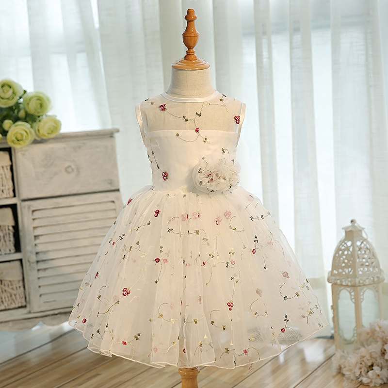 2018 New Girls Embroidered Flower Bow Formal Party Ball Gown Prom Princess Bridesmaid Wedding Birthday Party Dress Size 2-15Y kids girls bridesmaid wedding toddler baby girl princess dress sleeveless sequin flower prom party ball gown formal party xd24 c