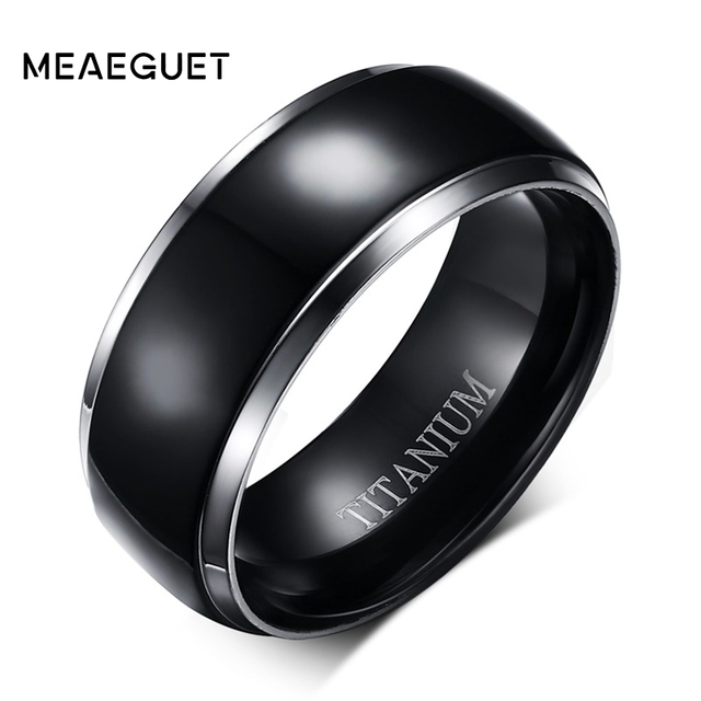 Meaeguet Classic 100% Titanium Wedding Rings For Men Black Rock Punk Rings 8MM Wide Engagement Accessories Anel Jewelry