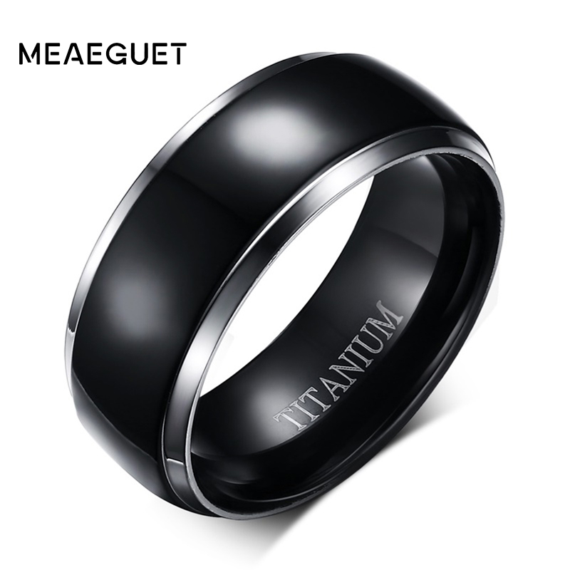 Titanium Wedding Rings.Us 4 63 42 Off Meaeguet Classic 100 Titanium Wedding Rings For Men Black Rock Punk Rings 8mm Wide Engagement Accessories Anel Jewelry In Engagement