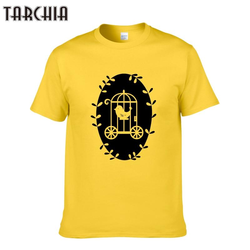TARCHIA 100% Cotton Tee Shirt Short Sleeve Mens T-Shirt Print Casual Men Tshirt Cageling Print Men T Shirt Tops Men Clothing