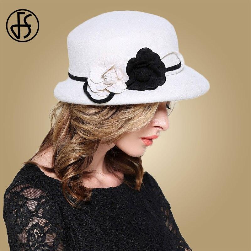 Image 2 - FS Womens Fedora Hats White Wide Elegant Brim Felt Cloche Hat Black Vintage Bowler Fedora Female Floppy Flower Lady Girls Autumn-in Women's Fedoras from Apparel Accessories