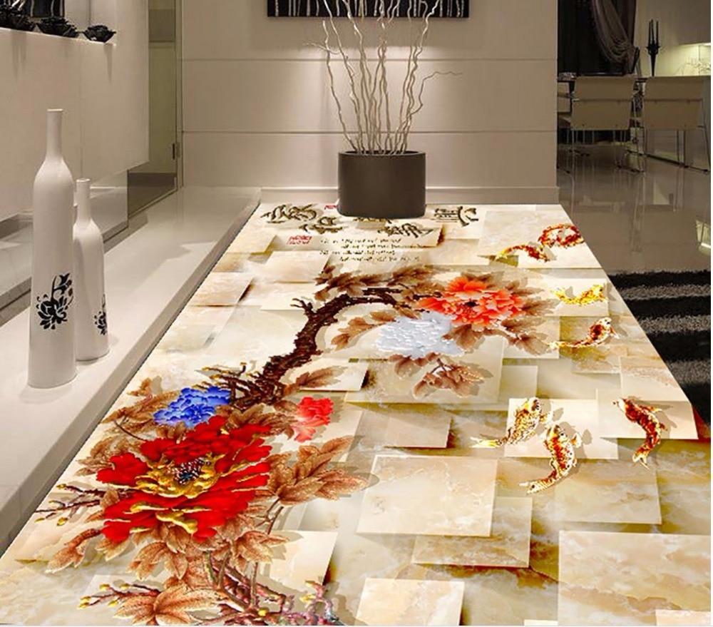 3d flooring peony carp 3d floor painting bathroom - Waterproof floor paint for bathrooms ...