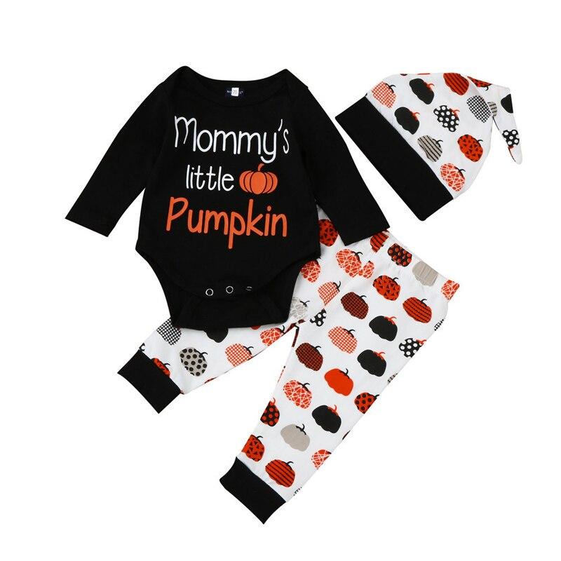 Для новорожденных Обувь для девочек Обувь для мальчиков Хэллоуин Тыква печати симпатичная одежда Комплект Комбинезон Топ + Брюки для девоч...