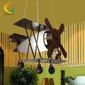 Creative Kids bedroom american retro style iron LED lights cartoon fighter aircraft stylish restaurant chandelier lamp