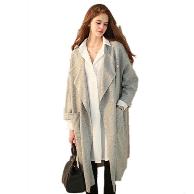 Мода Весна Новый Европейский Мода Свободные Большой Лацкане Сплошной Цвет С Длинными Рукавами Кардиган Пальто Женщина Долго Пальто Для женщины