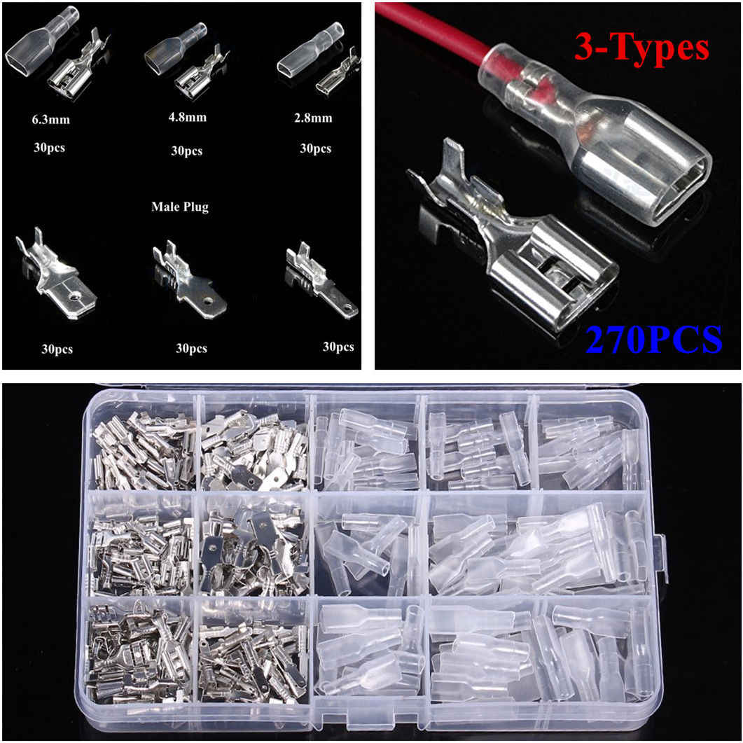 270Pcs/set Electrical Wire Terminal Crimp Connector Insulated power cable terminal assorted kit connectors 6.3/4.8/2.8