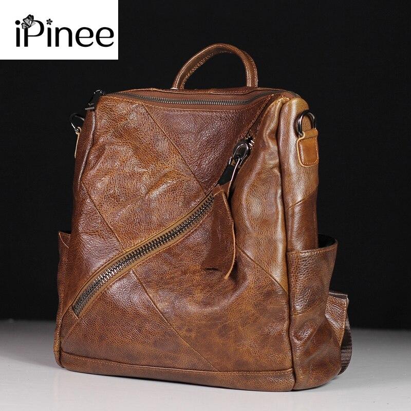 4f141b410c66 IPinee Высокое качество пояса из натуральной кожи женские рюкзаки дорожные  сумки женский черный Dailypack школьные Дамы