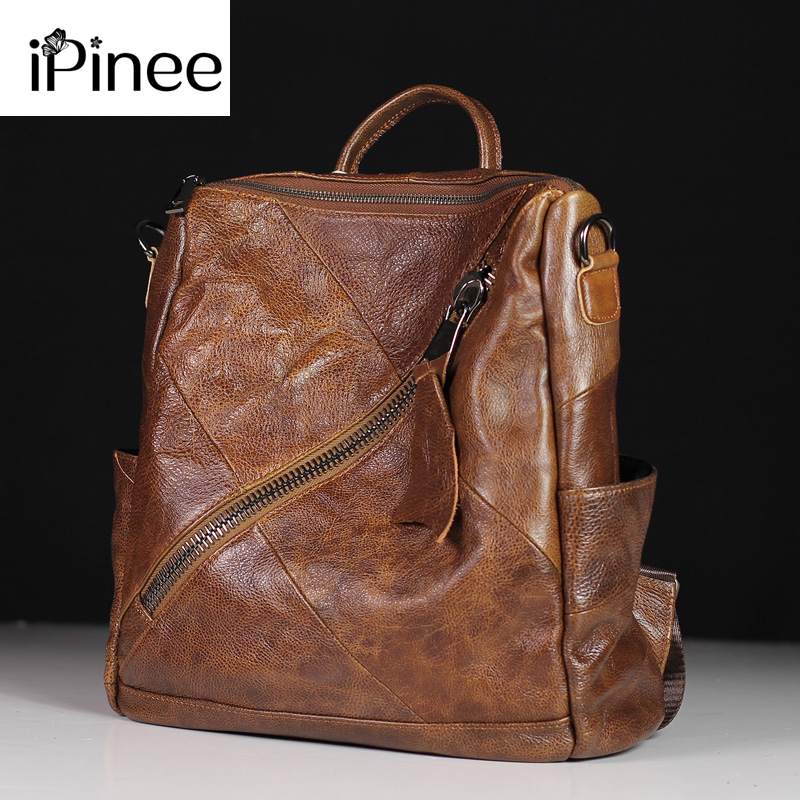 IPinee High Quality Genuine Leather Women's Backpacks Travel Bags Female Black Dailypack School Ladies Preppy Girl Backpack