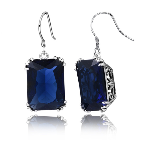 Sale Vitoria Bohemian Jewelry Gorgeous 925 Sterling Silver Handmade Created Sapphire Earrings for Women Wedding Favors and Gifts