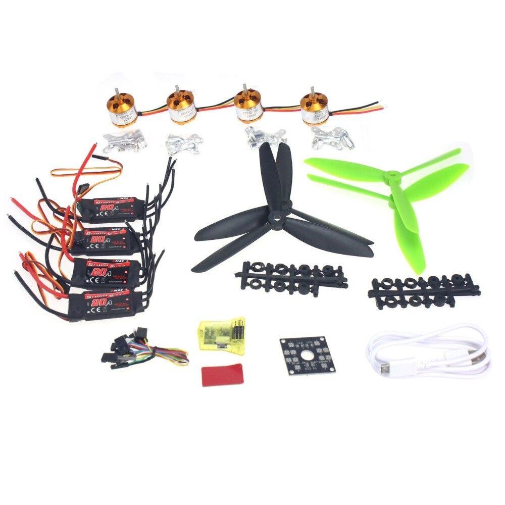F02047-B полета Управление Opensource Emax 20A ESC 1400KV бесщеточный Двигатель 7045 Пропеллеры для CC3D 250 4-мост DIY Мини Drone
