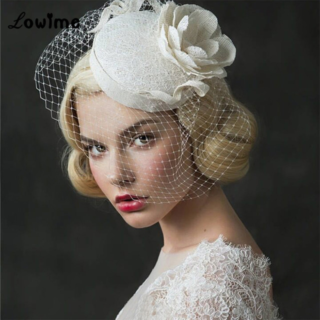 UK Vintage Princess Bridal Hats Linen Wedding Hair Accessories With Flower Women Evening Hat Cheap