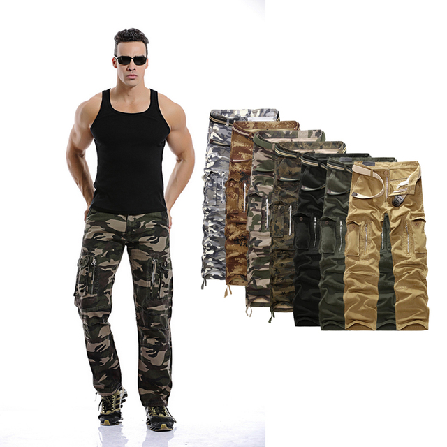Mens Military Cargo Pants 2017 Men Hot Army Camouflage Long Outwear Cotton Pants Men Loose Trousers No Belt